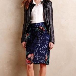 Anthropologie Maeve Floral  Dot Faux Wrap Skirt 10